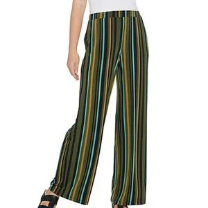 NWOT Susan Graver Stripe Liquid Knit Wide Leg Pant